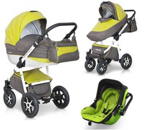 Trzyfunkcyjny wózek głęboko spacerowy Expander Mondo Ecco 3w1 ze skóry ekologicznej z bezpiecznym fotelikiem samochodowym 0-13 kg ADAC do wyboru