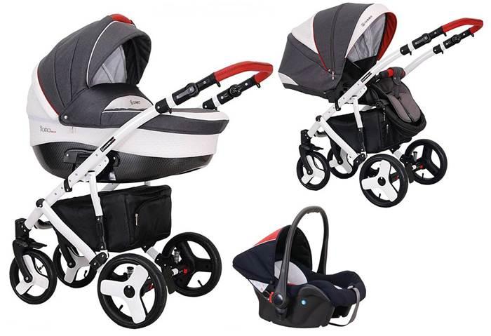 Wózek 3w1 głęboko spacerowy Florino Carbon + fotelik samochodowy 0-13 kg, Coletto