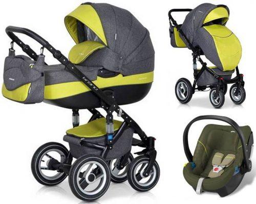 Głęboko spacerowy wózek dziecięcy 3w1 Riko Brano z bezpiecznym fotelikiem samochodowym 0-13 kg z testami ADAC