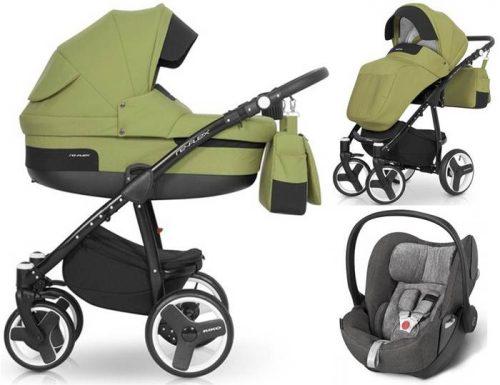 Wózek 3w1 wielofunkcyjny Re Flex, Riko z bezpiecznym fotelikiem samochodowym 0-13 kg do wyboru