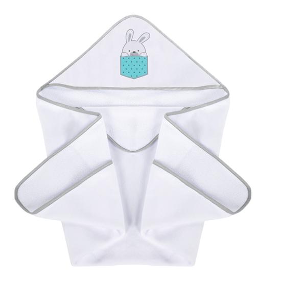Okrycie kąpielowe 100/100 cm Zajączki - turkus iPlus Baby