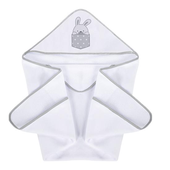 Okrycie kąpielowe 100/100 cm Zajączki - popiel iPlus Baby