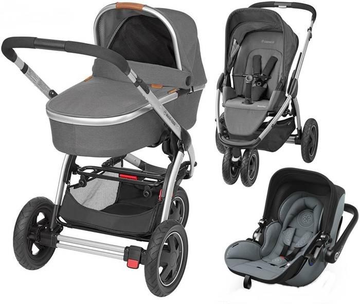 Głęboko spacerowy trzykołowy wózek Maxi Cosi Mura 3 Plus z klasyczną gondolą i fotelikiem do wyboru