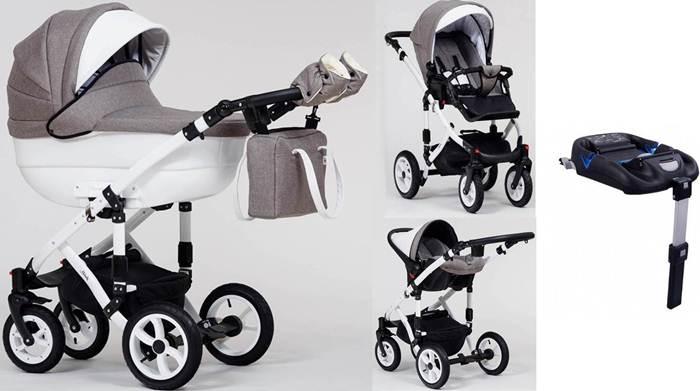 Wózek dziecięcy 4w1 głęboko-spacerowy Melody Paradise Baby+ fotelik Kite 0-13 kg + baza isofix