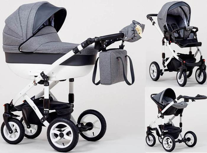 Wózek dziecięcy 3w1 głęboko-spacerowy + fotelik Kite 0-13 kg Melody, Paradise Baby