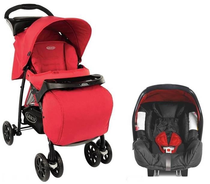 Wózek spacerowy Graco Mirage z tacką i osłonką na nogi oraz fotelikiem 0-13 kg Junior Baby