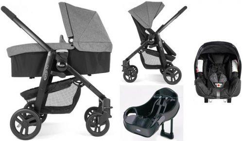 4w1 Wózek głęboko spacerowy Evo Graco+ fotelik 0-13 kg Junior Baby + baza