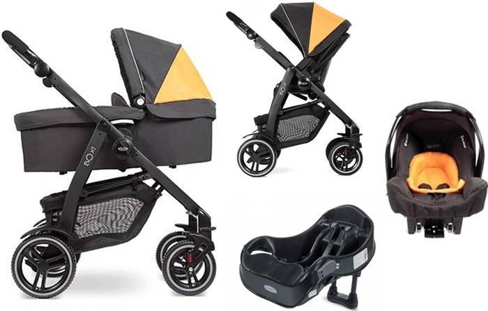 Wózek głęboko spacerowy 4w1 Graco Evo XT z fotelikiem Sungfix, adapterem i bazą na Isofix lub pasy