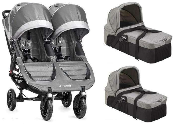 Wózek bliźniaczy głęboko spacerowy 2w1 City Mini Duble GT + 2 gondole Baby Jogger