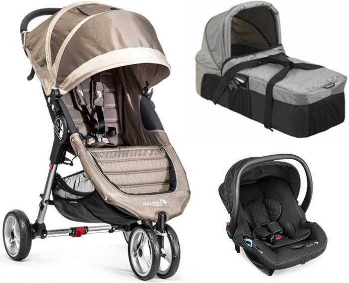 3w1 wózek spacerowy City Mini 3 Baby Jogger + gondola kompaktowa + fotelik City Go + adapter+ pałąk i folia przeciwdeszczowa