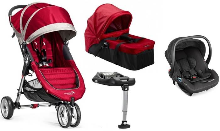 4w1 lekki wózek spacerowy City Mini 3 Baby Jogger + gondola kompaktowa + fotelik City Go + baza isofix