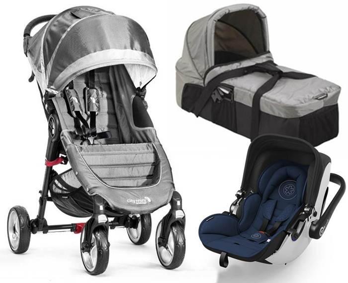 3w1 Lekki wózek City Mini 4 Baby Jogger + gondola kompaktowa + bezpieczny fotelik z testami ADAC
