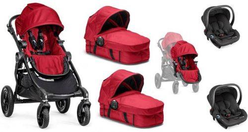 3w1 głęboko spacerowy wózek dla bliźniąt City Select Baby Jogger - 2 gondole Baskinet + dodatkowe siedzisko + foteliki samochowe z testami ADAC