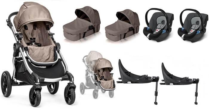 4w1 Full opcja dla bliźniąt City Select Baby Jogger - dodatkowe siedzisko spacerowe + 2 gondole Baskinet + 2 foteliki samochowe z testami ADAC + 2 bazy Isofix