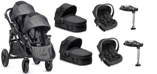 4w1 głęboko spacerowy wózek dla bliźniąt City Select Baby Jogger + foteliki samochowe City Go baby Jogger + 2 x baza isofix