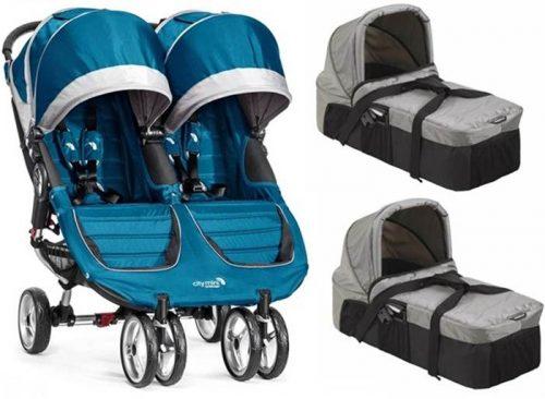 Głeboko spacerowy wózek dla bliźniąt podwójny City Mini Double Baby Jogger + 2 gondole kompaktowe