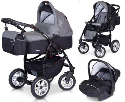 Bogato wysposażony wózek 3w1 Passo z fotelikiem Euro-Cart - moskitiera + folia