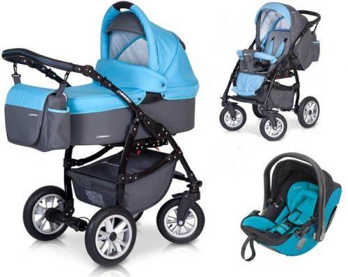 Bogato wysposażony wózek 3w1 Passo z fotelikiem Euro-Cart z bezpiecznym fotelikiem samochodowym 0-13 kg - testy ADAC do wyboru