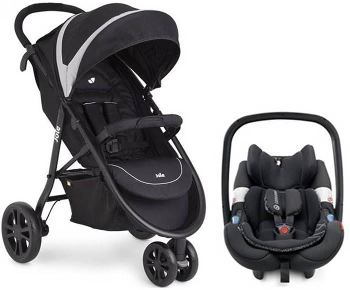 Funkcjonalny lekki wózek spacerowy Litetrax 3 firmy Joie z fotelikiem samochodowym 0-13 kg