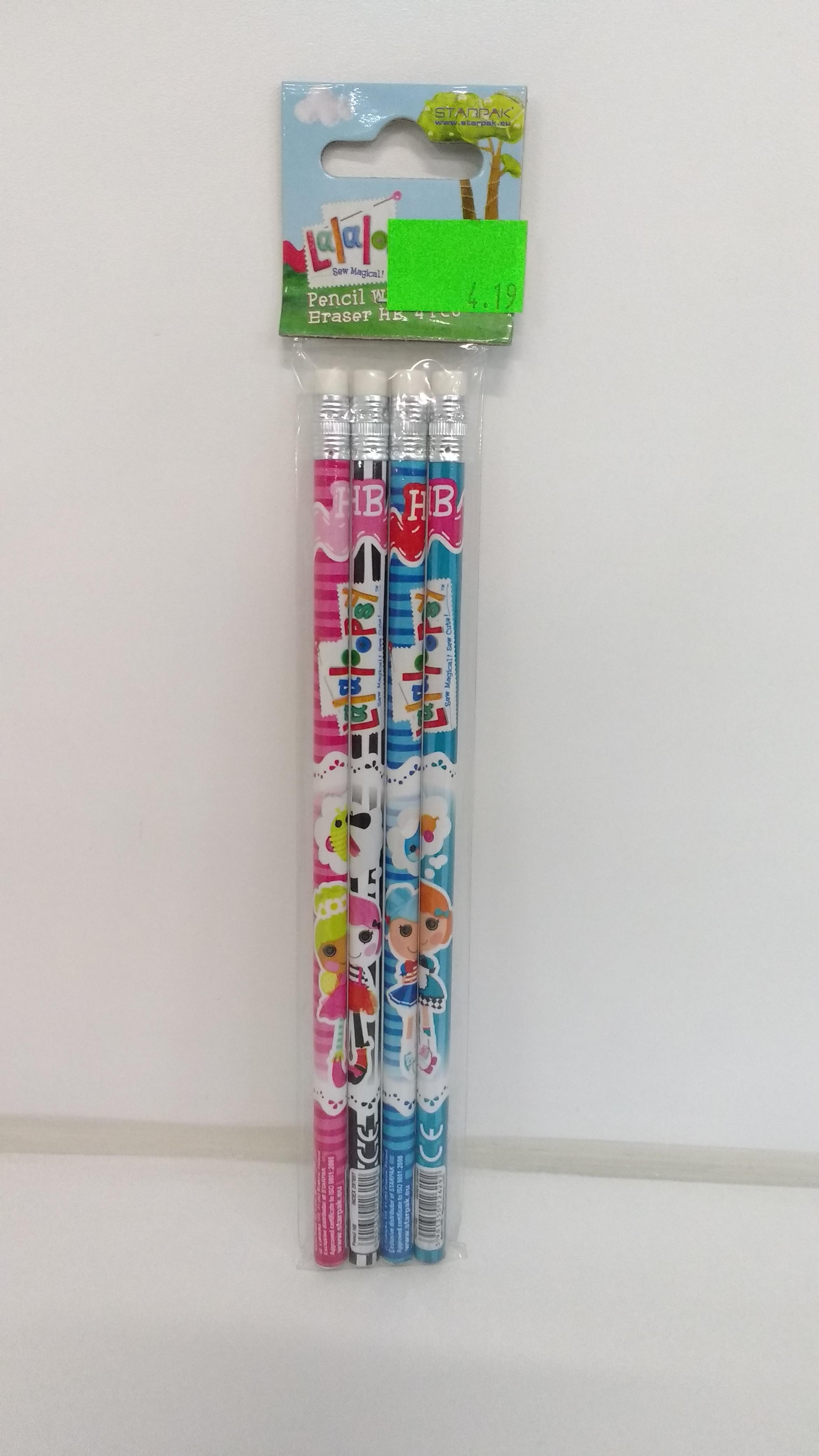 Starpak ołówek z gum  lalaloopsy pbh 4szt