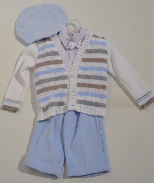 Komplet do chrztu sweterk koszula + spodnie sztruksowe