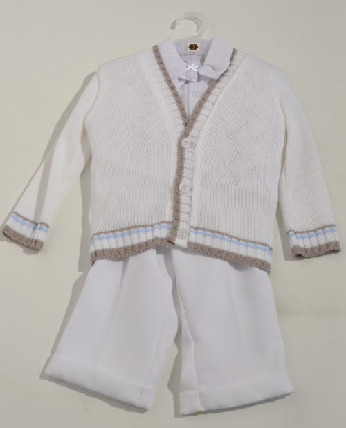 Komplet do chrztu sweterek + koszula + spodnie