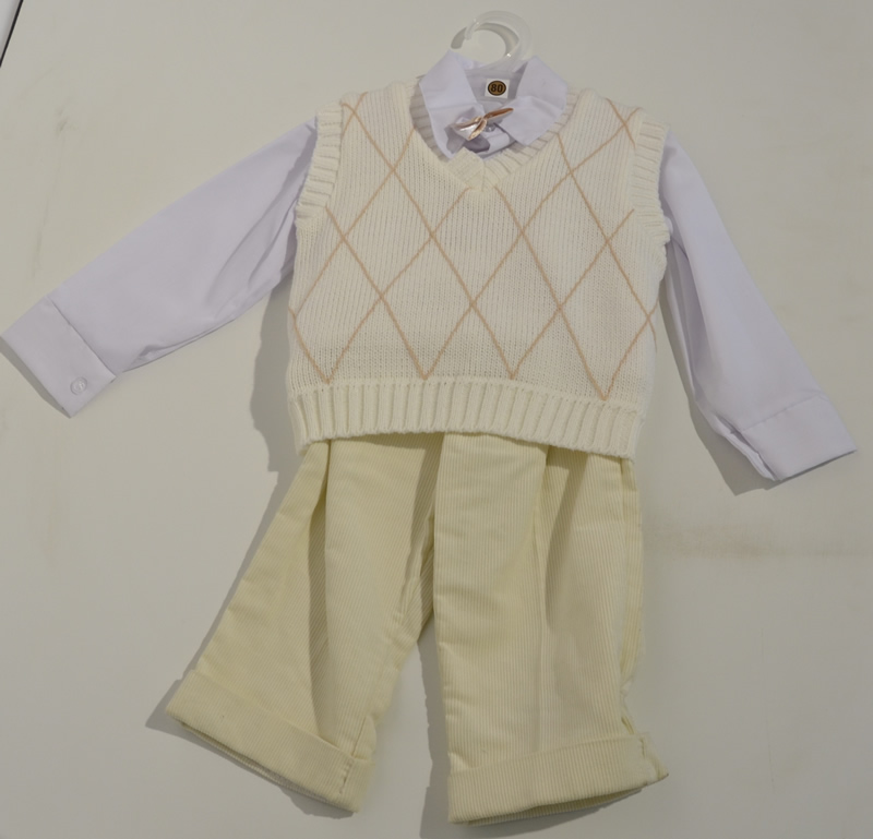 Komplet do chrztu kamizelka koszula + spodnie sztruksowe
