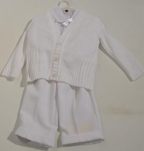Komplet do chrztu sweterek rozpinany koszula + spodnie