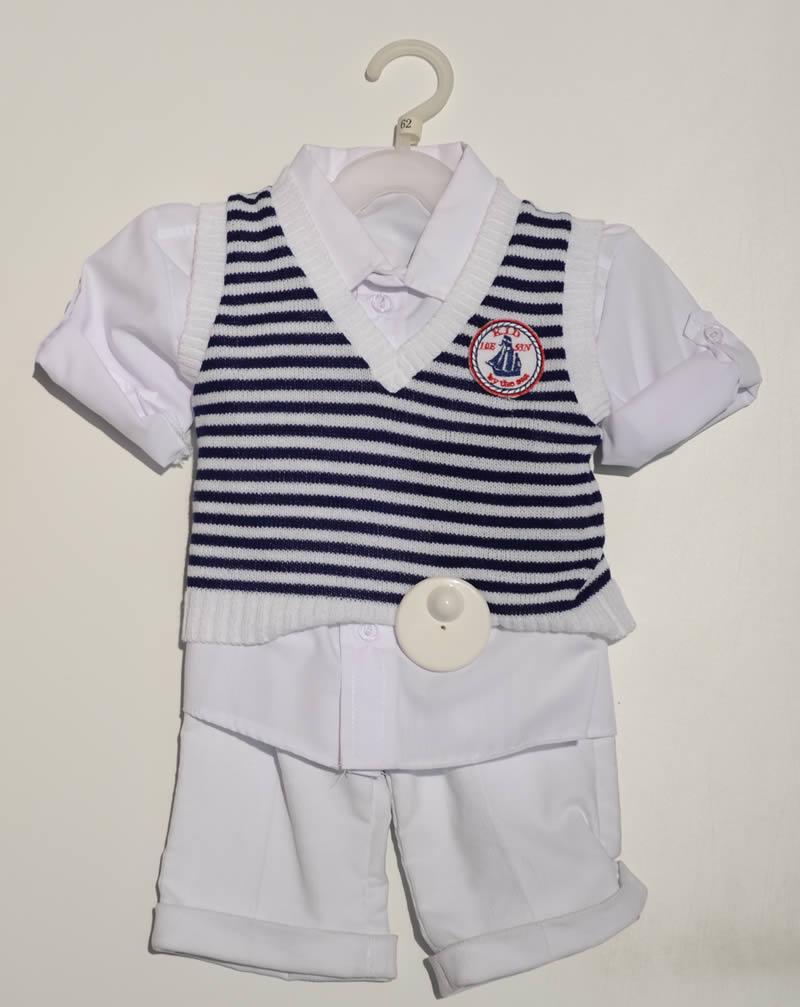 Komplet do chrztu dla chłopca kamizelka koszula spodnie Krasnal