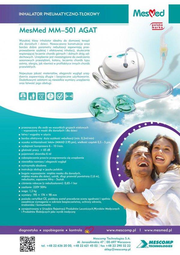 Inhalator dla całej rodziny pneumatyczno - tłokowy MM–501 Agat