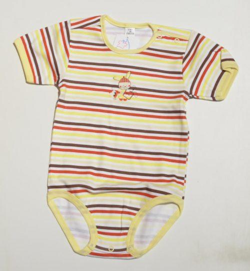 Kolorowe body w paski dla niemowląt Szwat z krótkim rękawem i aplikacją