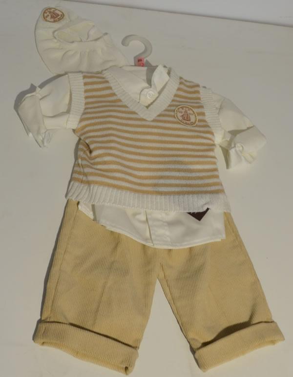 Komplet do chrztu sweterek koszula + spodnie i kaszkiet Krasnal