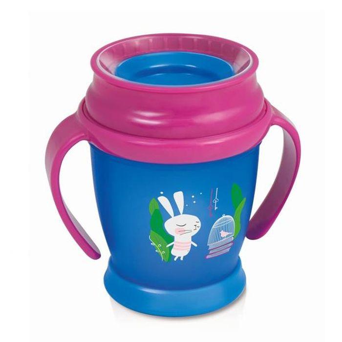 Kubek 360° z uchwytami Follow The Rabbit Mini 210 ml do nauki samodzielnego picia - Lovi