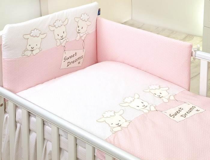 Amy Zestaw pościeli 3-elementy Owieczki, kolor różowy