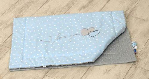Amy Kocyk minky+haft My Little Bunny niebieskie