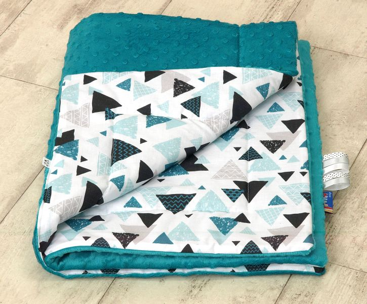 Kocyk Aztec Minky Triangles - morski, Amy