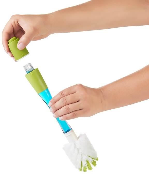 Oxo Tot szczoteczka do butelek z dozownikiem płynu zielona