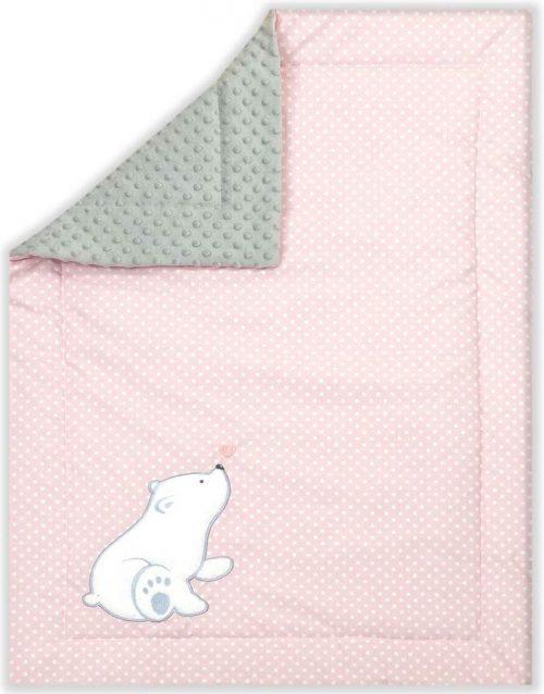 Kocyk Minky Heart Bear różowy, Amy