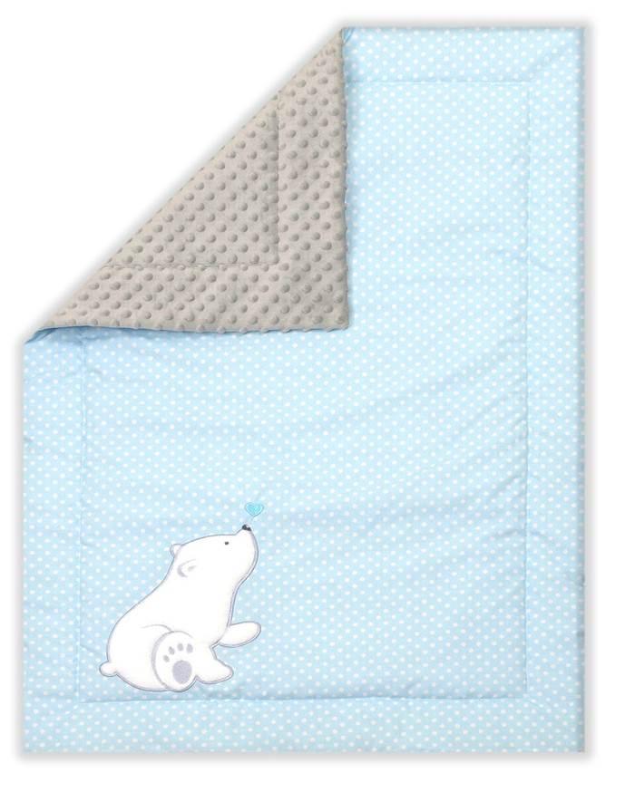 Kocyk Minky Heart Bear niebieski, Amy
