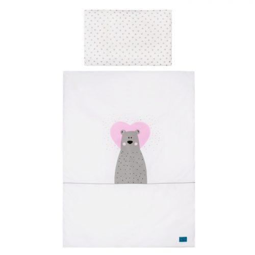 Pościel Belisima Zakochany Miś 100x135 2 częściowa w różowym kolorze