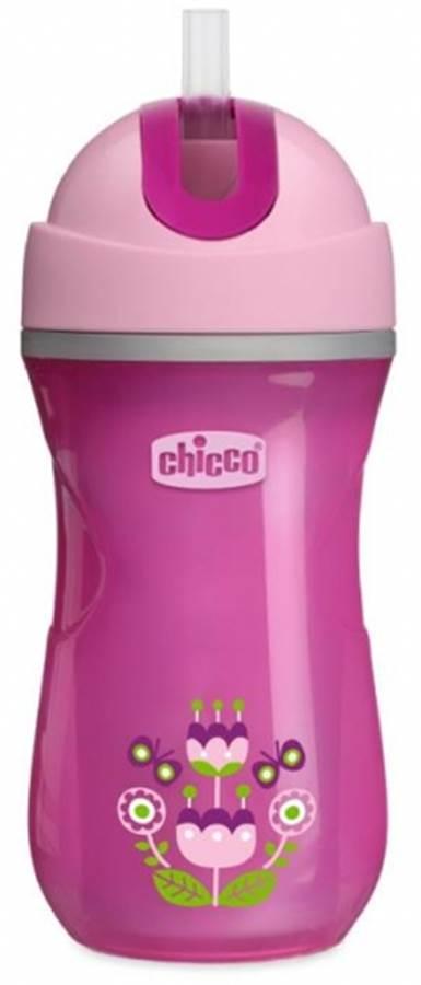 Kubek termiczny ze słomką do nauki picia 14m+ Chicco dziewczynka