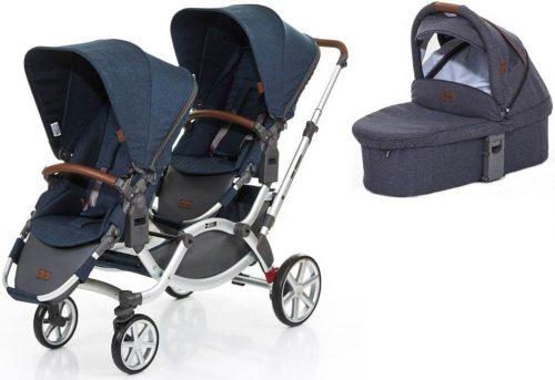 Wózek bliźniaczy spacerowy dla rodzeństwa + gondola Zoom Abc Design