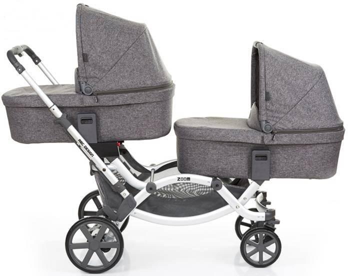 Wózek bliźniaczy głęboko spacerowy Zoom + foteliki samochodowe z testami Adac, Abc Design