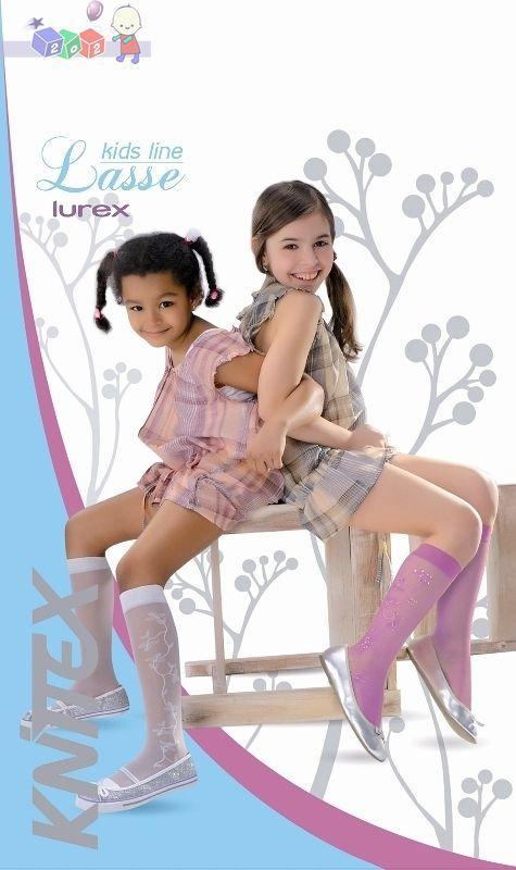 Wzorzyste podkolanówki dziewczęce z lycry 15 den z dodatkiem nitki lurex