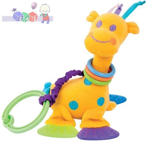 Pluszowa żyrafka z grzechotką, lusterkiem i gryzakami do zamocowania na wózku i łóżeczku Canpol Babies