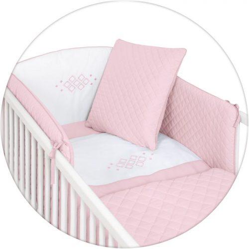Ceba Baby pościel 5-elementowa Caro - poszewki na poduszeczki i kołderkę, ochraniacz, kocyk_Różowy