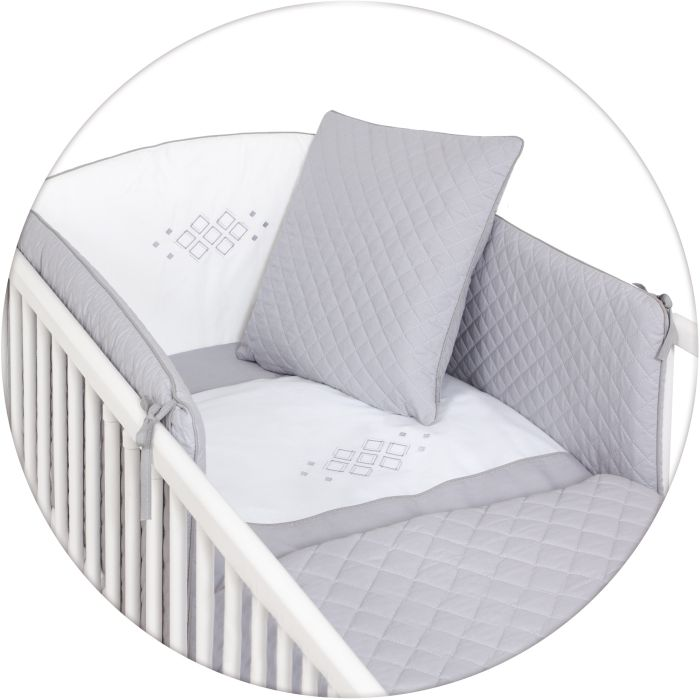 Ceba Baby pościel 5-elementowa Caro - poszewki na poduszeczki i kołderkę, ochraniacz, kocyk_Szary