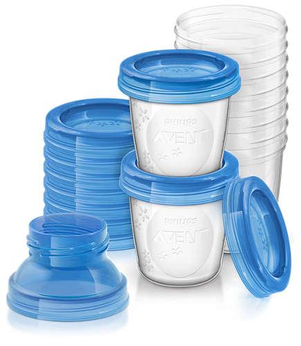 Zestaw do przechowywania pokarmu mamy karmiącej Pojemniki VIA 180ml + przykrywki Avent 618/10