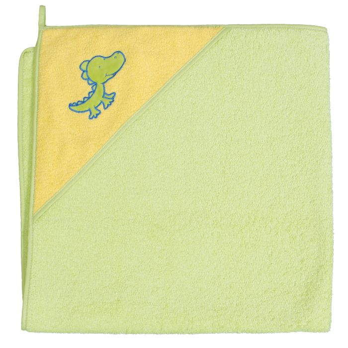 Okrycie kąpielowe z kapturkiem 100x100 cm ręcznik frotte Ceba Baby Krokodyl zielony