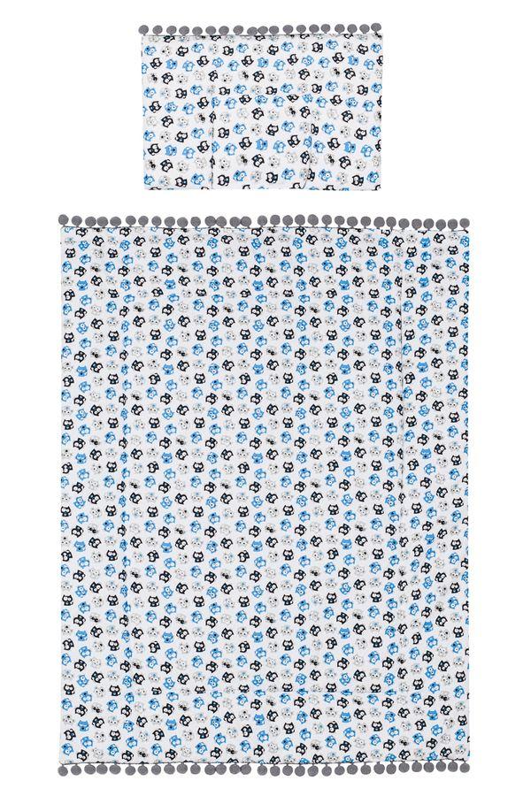 Belisimakołderka + podusia komplet do wózka Kotki 75x100 cm_Niebieski